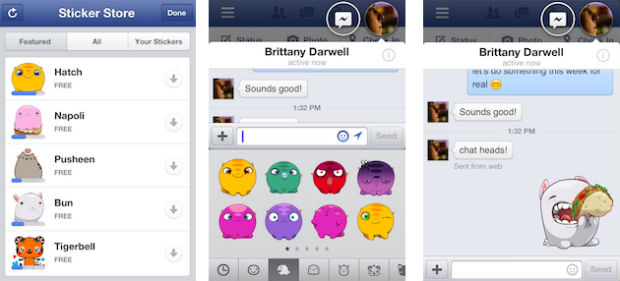 Facebook iOS stickers