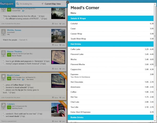 foursquare menu