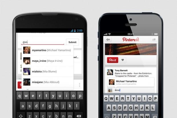 pinterest app mentions