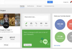 Google+ dashboard with youtube stats