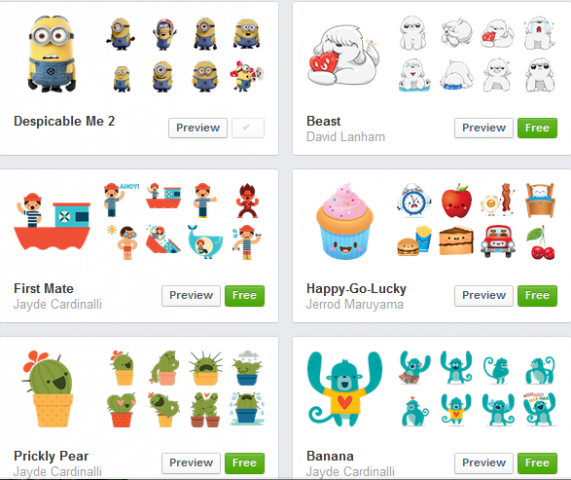 facebook stickers for web