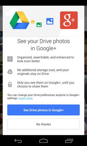Google Plus access to google drive