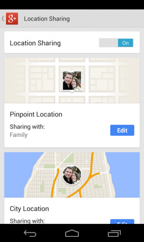 Google Plus location settings
