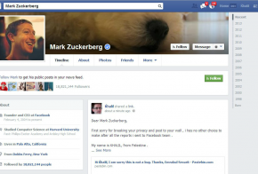 Khalil Shreateh facebook post to Mark Zuckerberg