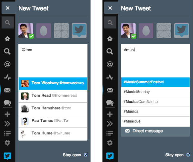 tweetdeck usernames and hashtags search