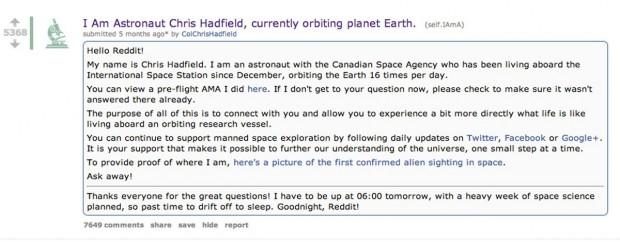 Hadfield reddit ama