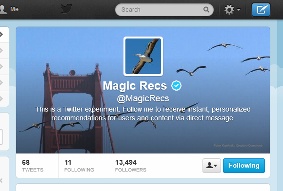 Magic Recs Twitter account
