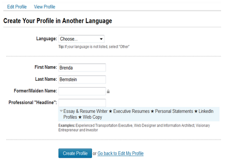 create a secondary language profile in linkedin 2