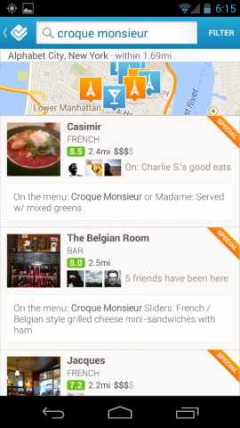 foursquare explore food