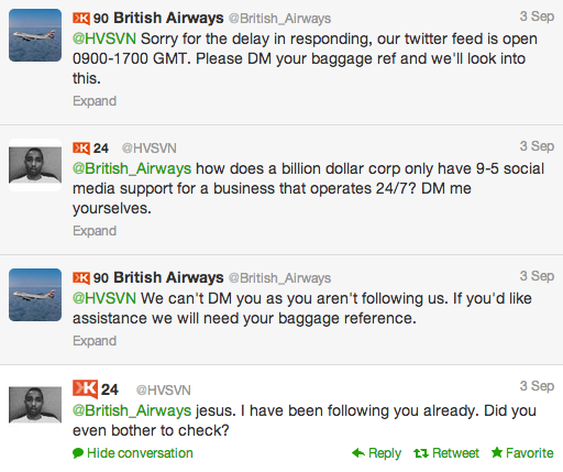 twitter british airways response