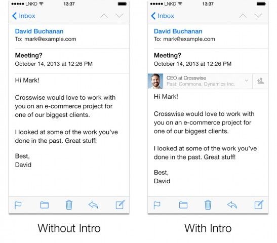 LinkedIn Intro for email at iphone