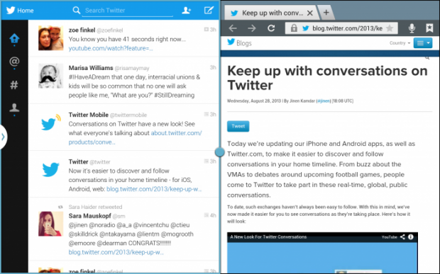 Twitter for Android tablets Multi Screen View