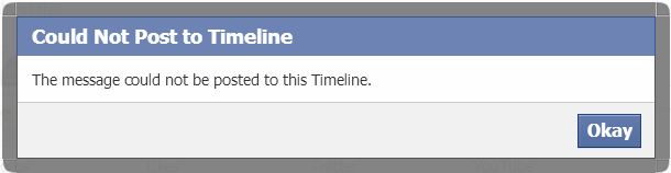 facebook error posting status update