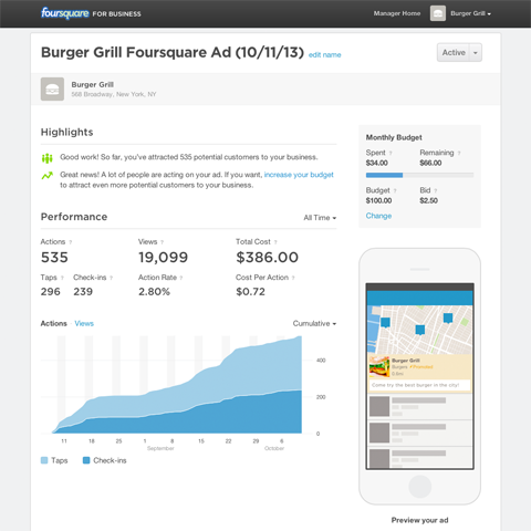 foursquare ads dashboard