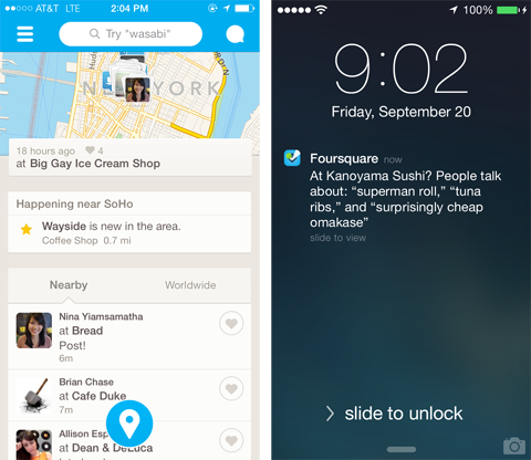 foursquare new update