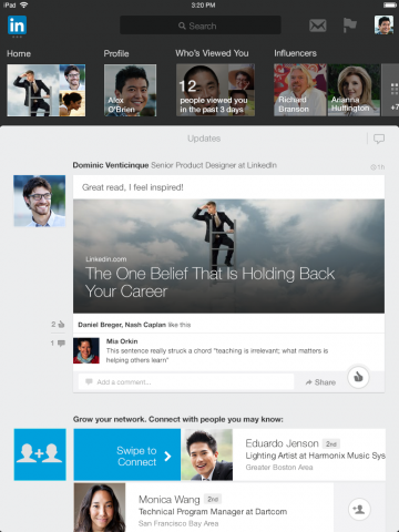new linkedin app for ipad