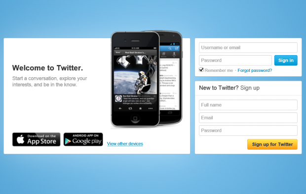 twitter new login page