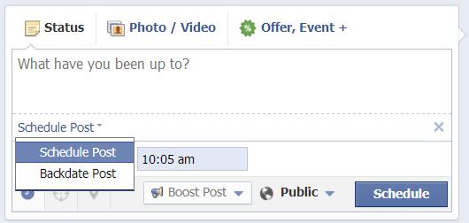 facebook schedule or backdate posts