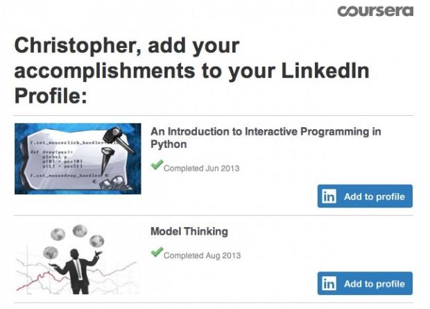 linkedin coursera certificate example