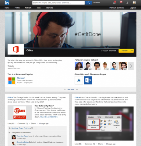 linkedin showcase pages microsoft office