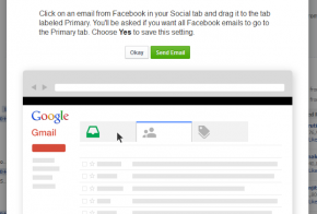 Facebook gmail popup