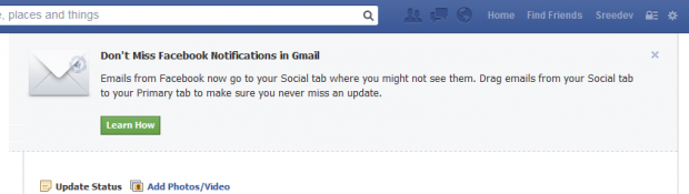 Facebook notification gmail