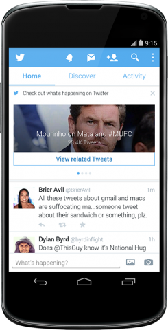 twitter for android recommended content