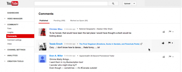 youtube comments page