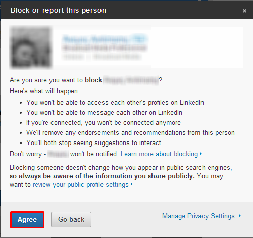 linkedin how to block a user