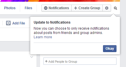 Facebook Group Update