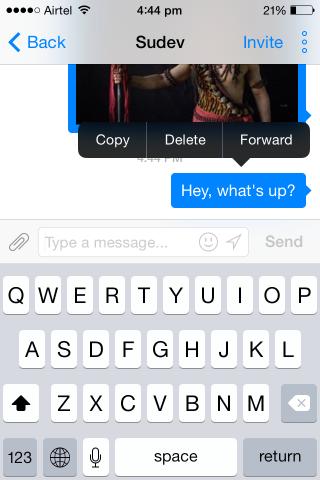 facebook messenger for ios forwarding