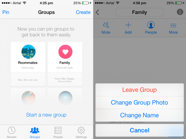 facebook messenger for ios groups