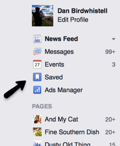 facebook saved news feed