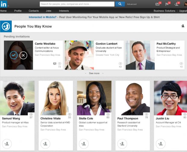 linkedin new people you may know page
