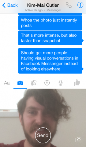 facebook messenger for ios selfie