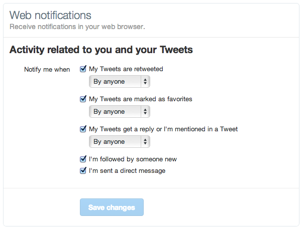 twitter real time notifications settings