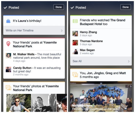 Facebook Context Cards for iOS