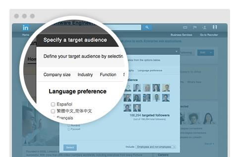 linkedin language preference targeting