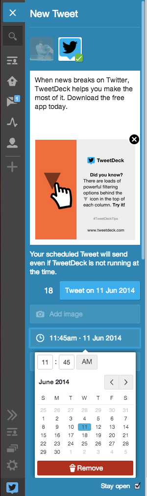 tweetdeck schedule tweets