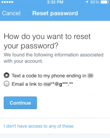 twitter reset password