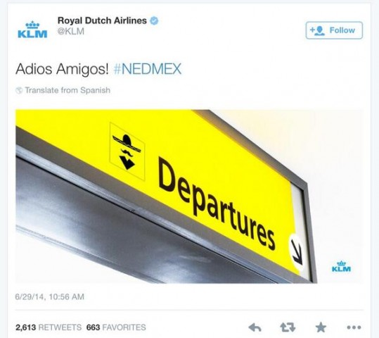 twitter Royal Dutch Airlines tweet