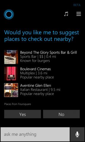 cortana suggests foursquare places