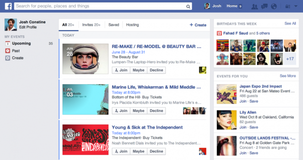 facebook events redesign