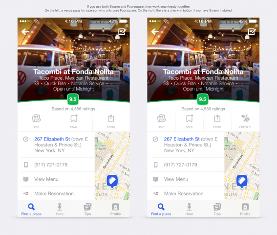 new foursquare app with or without swarm app