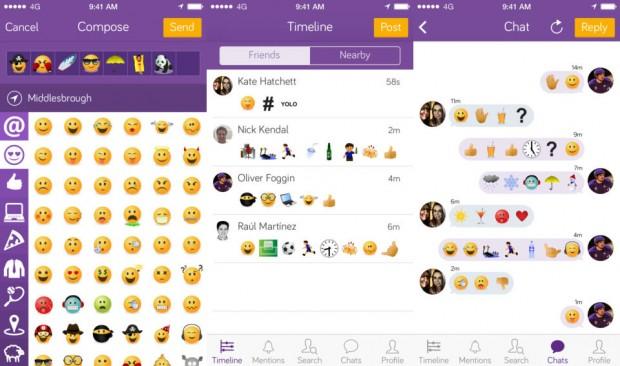 Emojicate emoji only social network
