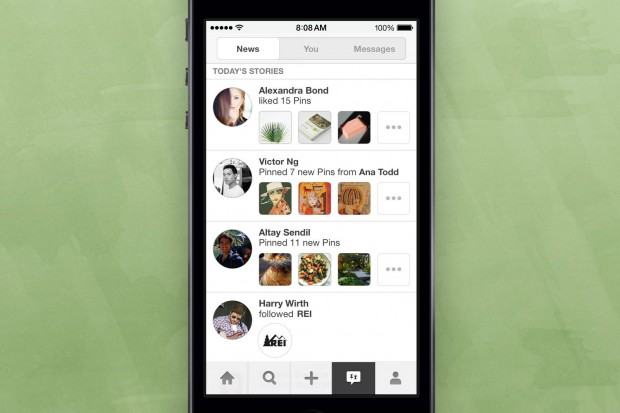 pinterest news notification for mobile