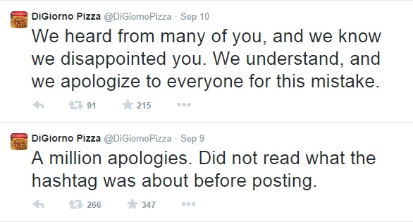 DiGiorno Pizza apologise tweets