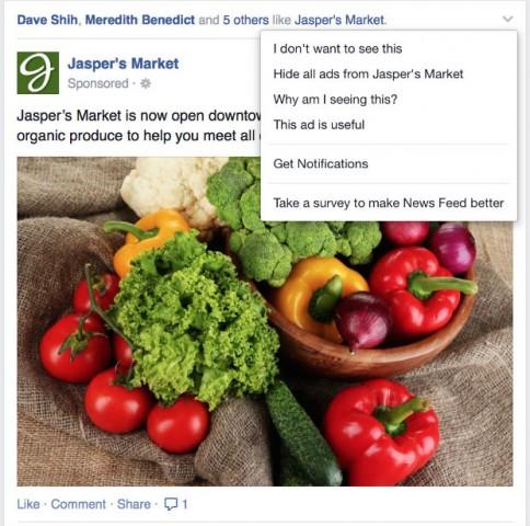 Facebook hide ads
