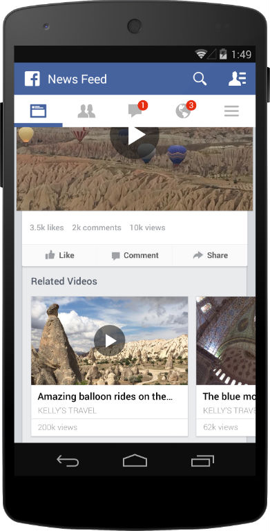 Facebook related videos
