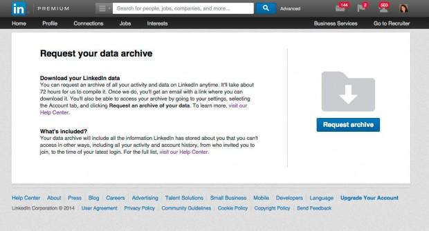 LinkedIn data export